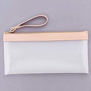 Yiherone Creative Solid Colour Transparent Scrub Pencil Bag Student Pencil Case Office School Supplies(Ecru) New (Color : Beige)