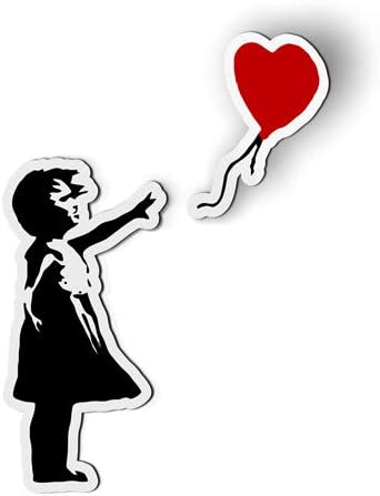 Stickers Tees Banksy Girl with Heart Balloon Car Magnet 6 product image