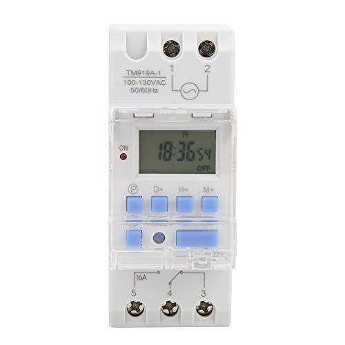 Interruptor de Temporizador Semanal de 12/24 Horas, Relé de Tiempo Programable LCD Digital Encendido Apagado Control Interruptor de Temporizador de TemporizacióN de Ciclo AutomáTico 100-130V CA 16A