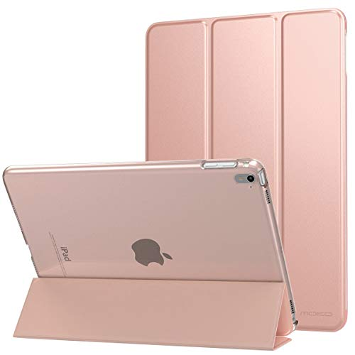MoKo Funda para iPad Pro 9.7 - Protectora Plegable Trasera Transparente Durable (Auto Sueño/Estela) para Apple iPad Pro 9.7 Pulgadas 2016 Tableta(No Apto Nuevo Apple iPad 9.7 2017, Oro Rosa