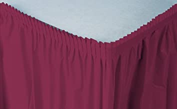 Creative Converting Plastic Table Skirt, 14-Feet, Burgundy
