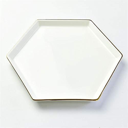 YAeele Bone China Plato de cerámica Hexagonal Plato de arroz bañados en Oro del hogar Plato de Arroz Regalo de la Torta Placa Blanca de 7 Pulgadas Plato Fácil de Limpiar