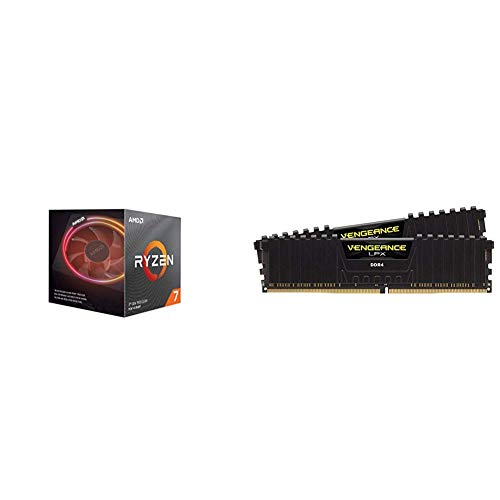 AMD Ryzen 7 3800x 4,5GHz AM4 36MB Cache Wraith Prism + Corsair Vengeance LPX 16GB (2x8GB) DDR4 3200MHz C16 XMP 2.0 High Performance Desktop Arbeitsspeicher Kit (für AMD Ryzen) schwarz