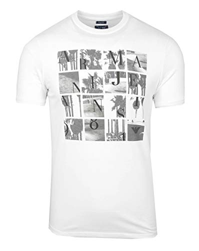 Armani Jeans 7V6T1C Herren Men Kurzarm T-Shirt Rundhals Weiß White Logo (L)