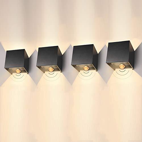 LEDMO LED Wandleuchte mit Bewegungsmelder Innen/Außen 4 Stück 12W Außenwandleuchte mit Bewegungsmelder Aussen mit Einstellbar Abstrahlwinkel 3000K Aussenleuchte mit Bewegungsmelder IP65(Schwarz)