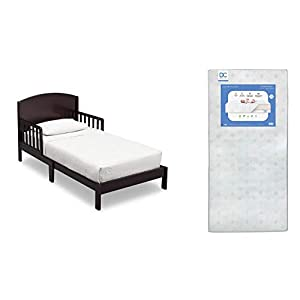 Delta Children Abby Toddler Bed, Dark Chocolate + Delta Children Twinkle Galaxy Dual Sided Recycled Fiber Core Toddler Mattress (Bundle)
