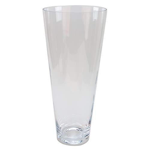 Glasvase konischer Zylinder klar 40cm hoch Ø 16cm | Große Bodenvase, modern und zeitlos als Blumenvase | Schöne Glas-Vasen deko selbst gestalten | klare Bodenvase aus Glas von Glaskönig