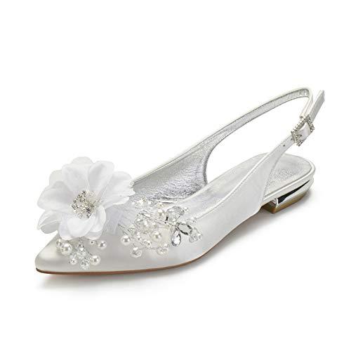 Gycdwjh De Tacón Bajo Zapatos de Boda para Mujer, Sexy Puntiagudo Asakuchi Zapatos de Novia Satén Cómodo Sandalias Tacón 2 cm para Banquetes y Fiestas,Ivory White,38 EU