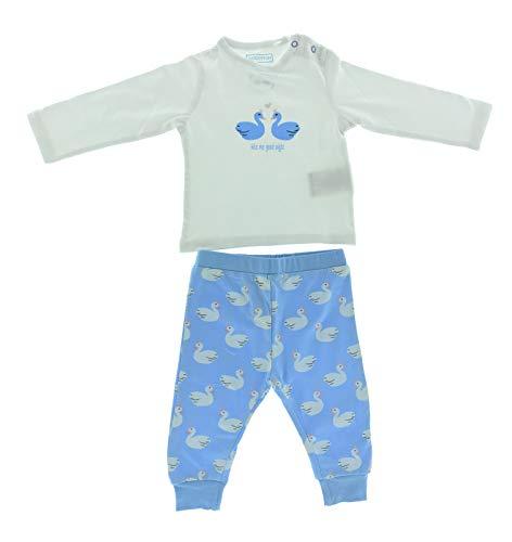 Baby Bio Baumwolle Langarm Pyjama Schlafanzug 62-68 Schwan 2er