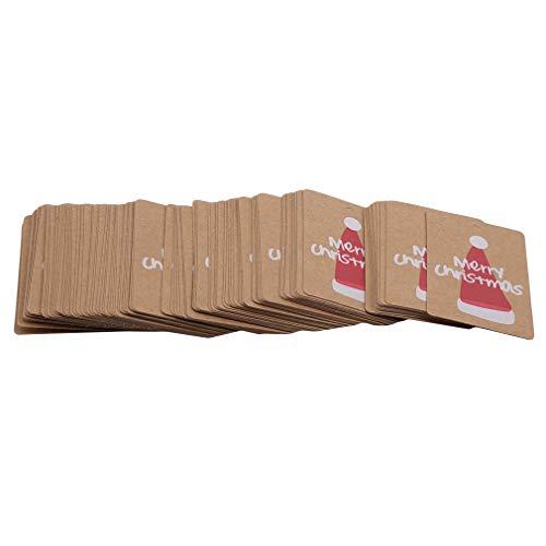 Yiwaki Étiquette de Noël de flocon de neige, décoration accrochante de carte de message de cadeau teintable pour la partie,Chapeau de noël