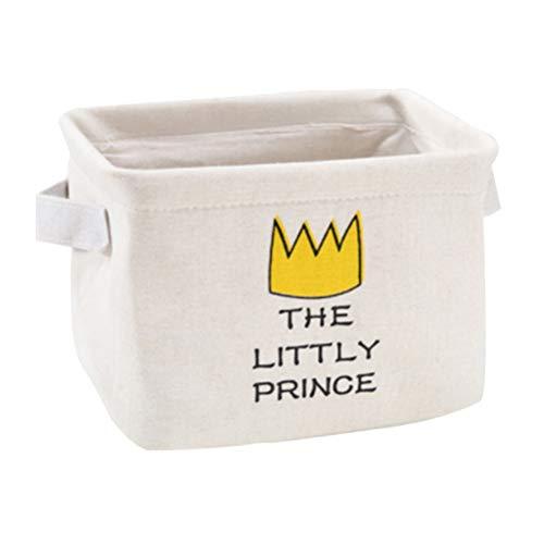 TOPBATHY Lindos contenedores de almacenamiento pequeños lienzos cestas de almacenamiento organizadores mini cesta para guardería bebé maquillaje juguete llaves escritorio de oficina (patrón de corona)