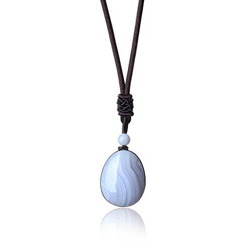 COAI® Collar con Colgante de Ágata Chakra de Forma Agua Lágrima Piedra Seimipreciosa de Curación Reiki