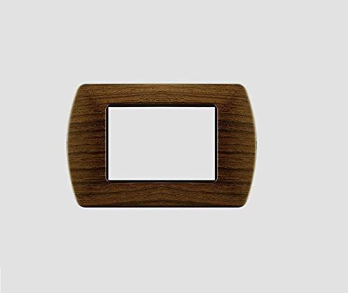 Placche in METALLO compatibili Bticino Living International 3 posti moduli vari colori supporti LN4703 L4703 (P12 LEGNO RADICA)