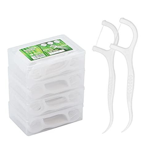 LAOYE Fils Dentaire 200 PCS Porte Fil Dentaire - Lot de 4 Dental Floss Cure Dent Fils Dentaires pour Nettoyage Dentaire