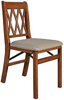 Lattice Back Folding Chair in Cherry Finish - Set of 2