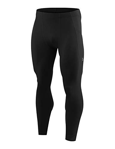 BALEAF Men's Yoga Leggings Running Tights with Pockets Athletic Compression Pants for Workout Cycling Hiking Black S