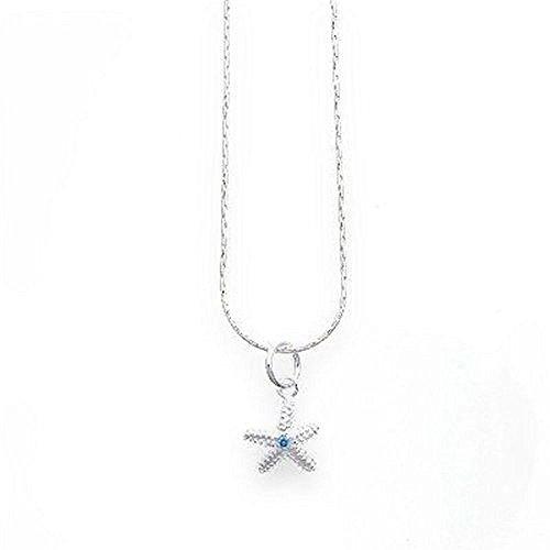 DUR: Feine Haferkornkette mit Seesternanhänger mit Blauem Kristall, Sterling-Silber 925