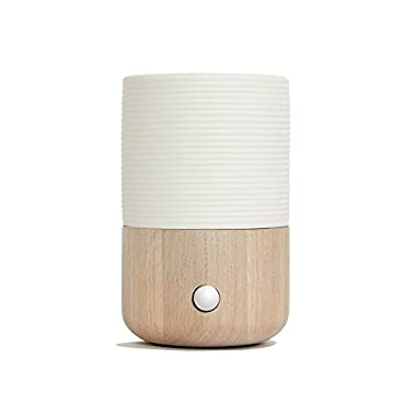 Sofia Waterless Nebulizing Essential Oil Diffuser For Best Aromatherapy - OAK Wood, Handmade Ceramic, LED meditation ambient Light. Scent and fragrance with 2 Glass Reservoirs Included