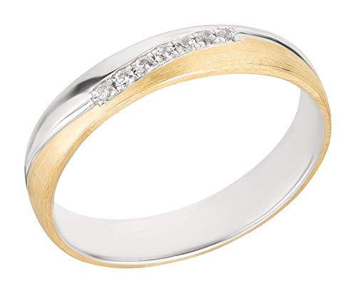 Ardeo Aurum Damenring Trauring aus 375 Gold bicolor Gelbgold Weißgold mit Zirkonia Ehering 4 mm Breite Modell 109-237 Größe 58