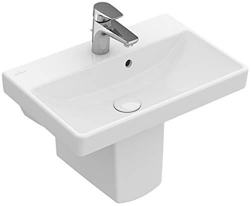 Villeroy&Boch Waschtisch Comp Avento 4A00 550x370mm 1-L Arm HL durchgest Überl Eckig Weiß Alpin C+