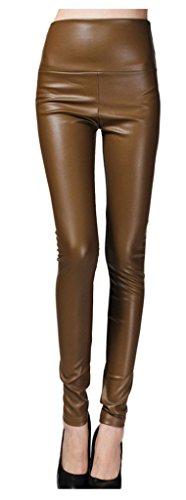 Lotus Instyle dick Hohe Taille Kunstleder Leggings Frauen Lederhose-Goldcoffee M