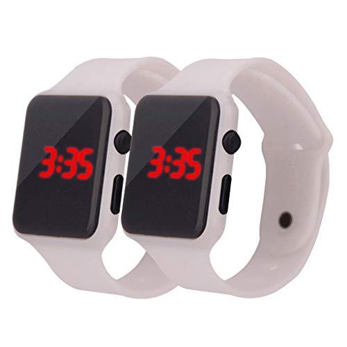 Quarzuhr Männer Armbanduhren für Herren,Einfache Digitale Led Elektronische Uhr Silikonband Männer Und Frauen Uhr von Evansamp(Weiß)