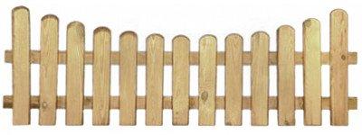 StaketenZaun 'Premium' 180x60/46cm - unten – kdi / V2A Edelstahl Schrauben verschraubt - aus getrocknetem Holz glatt gehobelt – nach unten gebogene Ausführung