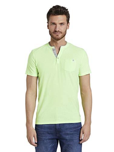 TOM TAILOR Herren Kurzarm Henley T-Shirt, 21328-neon Green White fin, XXXL