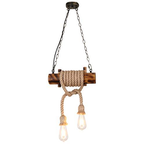 Lámpara colgante madera para comedor, Plafón colgante sala de estar diseño de cuerda de cáñamo rústica, iluminación colgante estilo loft industrial vintage E27 LED, Rectangular Altura ajustable, L33cm