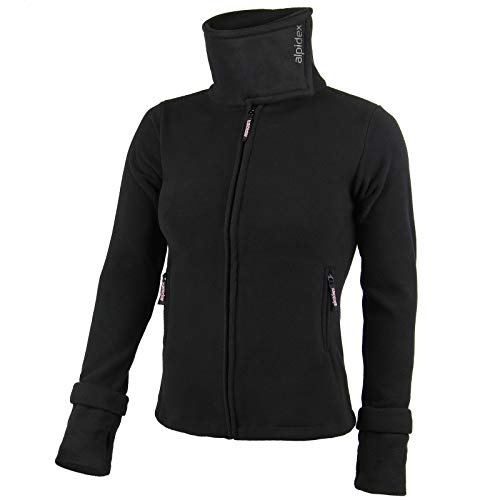 ALPIDEX Damen Fleecejeacke Hoher Stehkragen Daumenlöcher Fleece Jacke Anti-Pilling Schwarz Warm Weich, Größe:XXL, Farbe:Black