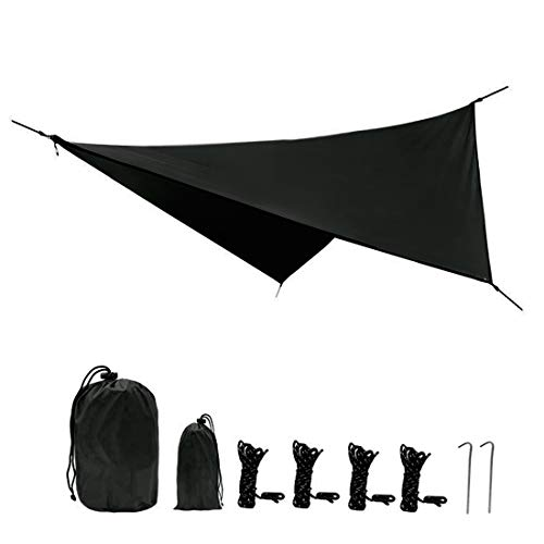 Yeeco Hammock Rain Fly Waterproof Camping Rain Tent Tarp Shelter Lightweight for Hammock Camping Hiking Backpacking - Black