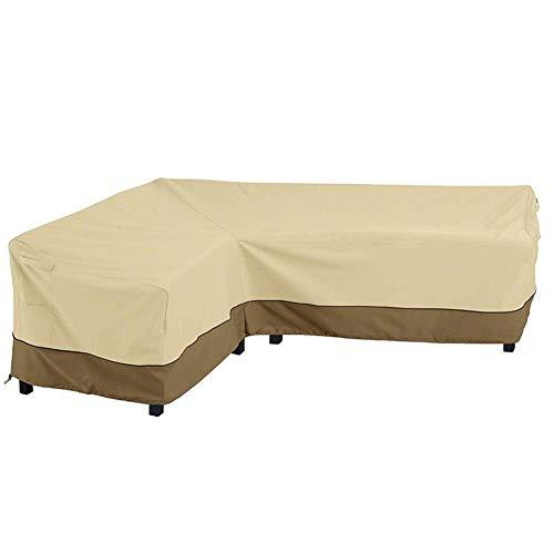 Funda para sofá esquinero de ratán, Funda Protectora para sofá en Forma de L 210D Tela Oxford Funda Impermeable Anti-UV para Muebles de jardín al Aire Libre, café Beige, reposabrazos Derecho