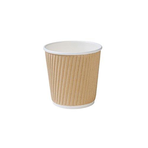 BIOZOYG Kraftkarton Espresso Riffelbecher I Trinkbecher Einweg Bio 100ml / 4oz I 500 Stück Espressobecher kompostierbar
