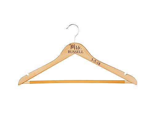Krezy Case Personalize Wood Hanger- Wedding Hanger-Mrs Hanger-Mr Hanger- Wedding Dress Hanger-engreaved Bridesmaid Hanger-Bridal Party Hanger-Wedding-Gift for Bride Bridesmaid