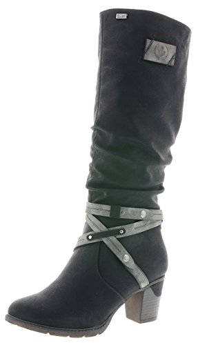 Rieker 96054 Damen Stiefel, Schaftstiefel, Boot, Warmfutter, Tex schwarz Kombi (schwarz/Smoke / 00), EU 37
