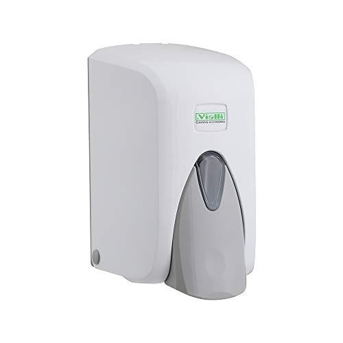 Vialli Seifenspender weiß zur Wandbefestigung für Flüssigseife, Lotion, Shampoo nachfüllbar modernes Design 500 ml