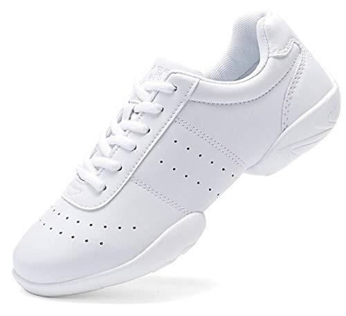 DADAWEN Adult & Youth White Cheerleading Shoes Sport Training Tennis Sneakers Competition Cheer Shoes White US Size 8/EU Size 40