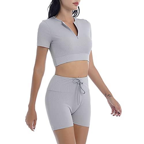 YOOJIA Mujeres Ropa Deportiva de Verano de 2 Piezas Traje de Yoga Gimnasia con Pantalones Cortos con Cordones Traje de Ocio para Deporte Gris S