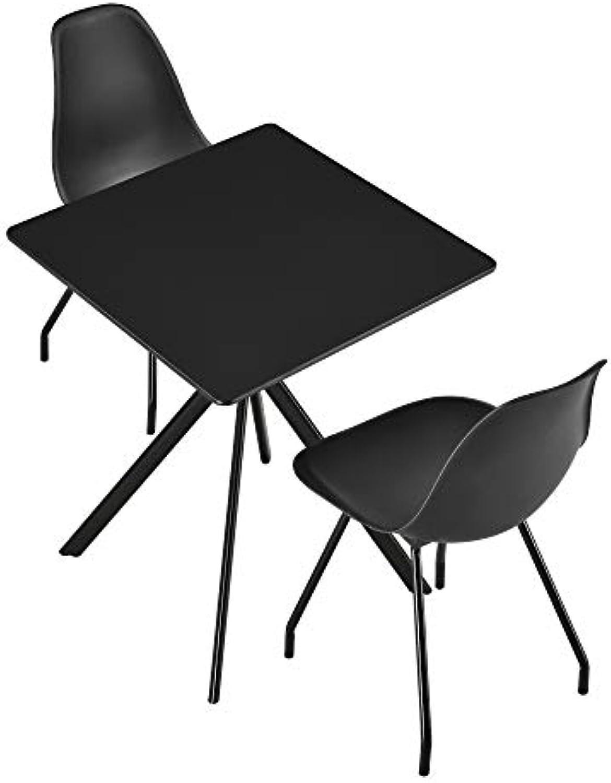 [en.casa] Esstisch mit 2 Stühle - 60x60x75cm Küchentisch Esszimmertisch Essgruppe Schwarz