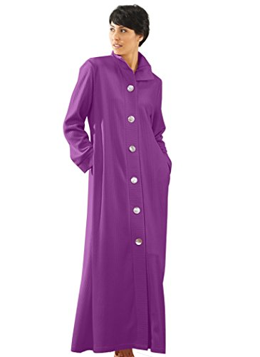 AmeriMark Womens Lightweight Long Bath Robe Lounger Sleepwear with Big Buttons Purple 1X(16W-18W)