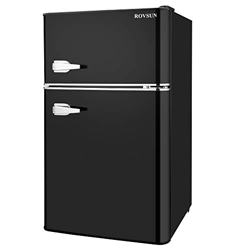 ROVSUN Double Door Compact Refrigerator with Freezer, 3.2 CU FT Mini Fridge for Apartment Bedroom Office Dorm with Removable Glass Shelf (Black)