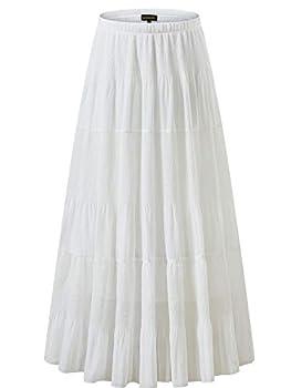 NASHALYLY Women s Chiffon Elastic High Waist Pleated A-Line Flared Maxi Skirts  M White