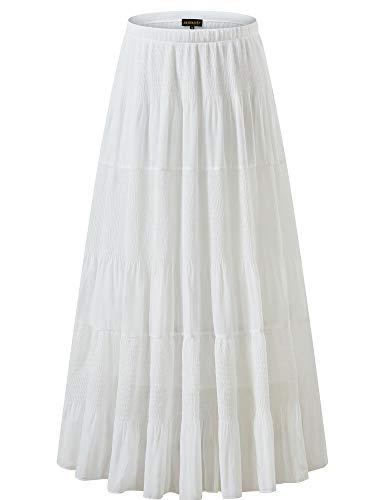 NASHALYLY Women's Chiffon Elastic High Waist Pleated A-Line Flared Maxi Skirts (XL, White)