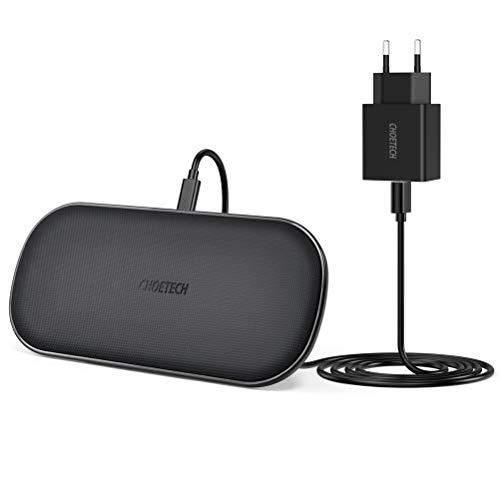 CHOETECH Doppio Caricatore Wireless 5 Bobine con QC 3.0 Adattatore Ricarica Wireless Veloce 10W per Galaxy S10/S9/S9 +/S8/S8 +/Note 8, 7.5W Fast Wireless Charger per iPhone 11/11 Pro/XSXR/X/8/8 Plus