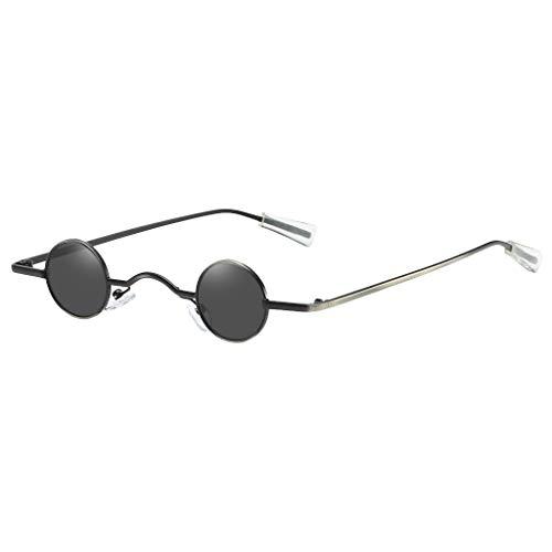 Lazzboy Sonnenbrille Runde Polarisierte Schutz Form Mann Frauen Hip Hop Brillen Shades Vintage Retro(Schwarz)