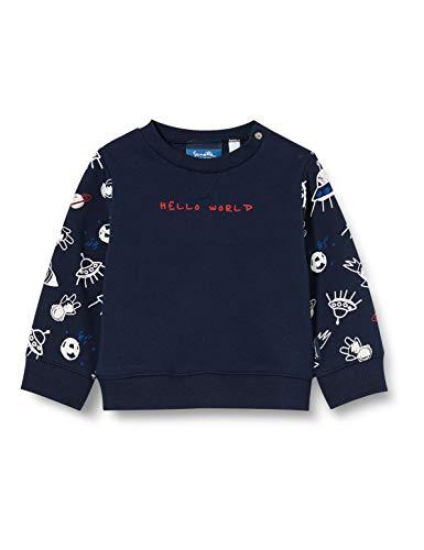 Sanetta Baby-Jungen Shadow Blue Ausgefallenes Sweatshirt in Dunkelblau mit Inter Galactic Alloverprint und unifarbener Vorderseite, blau, 062