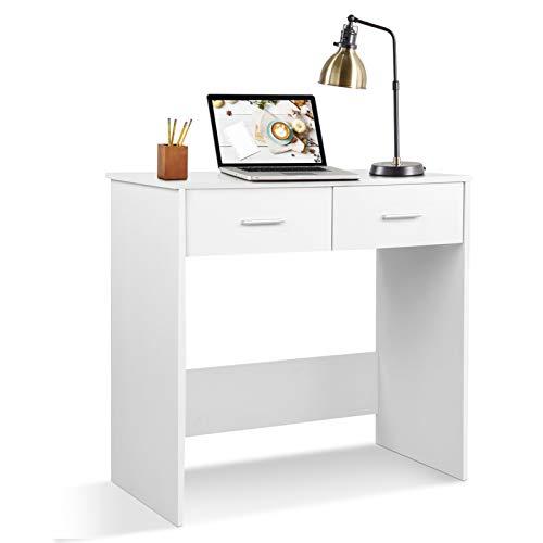 Mesa de Ordenador con 2 cajones, Escritorio Blanco, Mesa de Trabajo, Mesa de Oficina, Mesa para portátil, tocador pequeño, mobiliario de Oficina Mesa de Escritorio Mesa de Estudio, 80 x 40 x 75cm