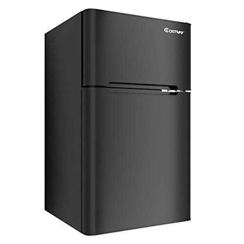 COSTWAY Compact Refrigerator, 3.2 cu ft. Unit 2-Door Mini Freezer Cooler Fridge with Reversible Door, Removable Glass Shelves, Mechanical Control, Recessed Handle for Dorm, Office, Apartment (Black)