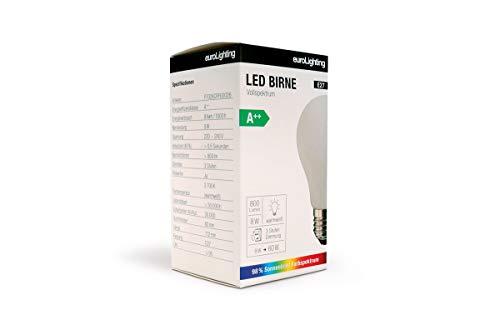 NEU! euroLighting Premium LED Birne E27 Glaskolben 8W Warm Weiss (2700K) 800 Lumen mit Sonnenlichtspektrum/Vollspektrum und 3 Stufen Dimmung