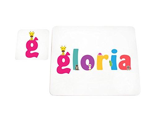 Little Helper LHV-GLORIA-COASTERANDPLACEMAT-15IT Sottobicchieri e Tovagliette con Finitura Lucida, Personalizzati Ragazze Nome Gloria, Multicolore, 21 x 30 x 2 cm